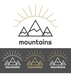 Mountains camp logo with sunrise behind the hills vector