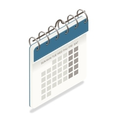 Calendar detailed isometric icon vector