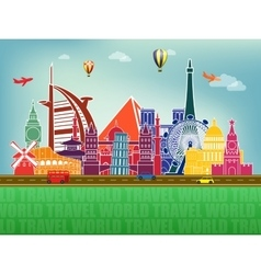Famous world landmarks icons vector