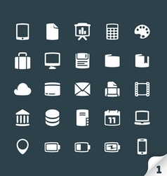 Set of office and media icons vector