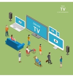 Streaming TV isometric flat vector image