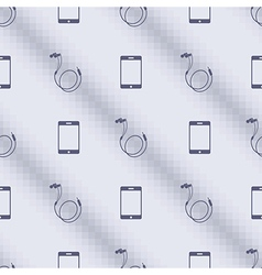 Pattern with smartphones and headphones vector