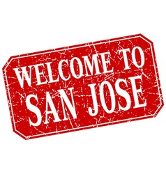 Welcome to san jose red square grunge stamp vector