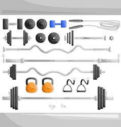 Gym weight exercise work out set vector