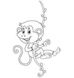 Animal outline for monkey on vine vector