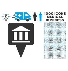 Bank Building Pointer Icon with 1000 Medical vector image