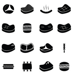 beef icon set vector image vector image