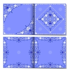 Blue abstract floral cards template vector image vector image