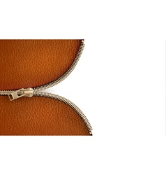Brown leather texture background with zipper vector image