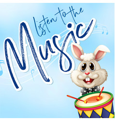 Bunny playing drum with music notes in background vector