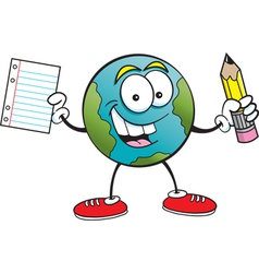 Cartoonearth holding a paper and pencil vector image vector image