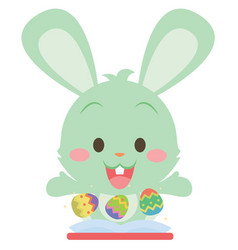 collection of green bunny design vector image