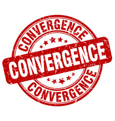 Convergence red grunge stamp vector