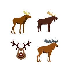 Deer icon set flat style vector