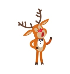 Deer singing song isolated on white reindeer vector