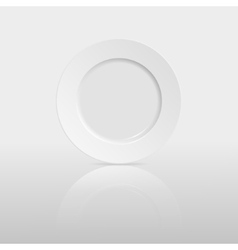 Empty plate with reflection on white background vector image vector image
