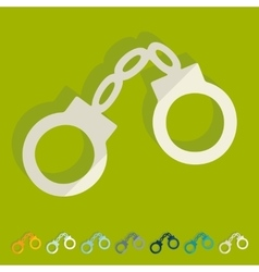 Flat design handcuffs vector image vector image