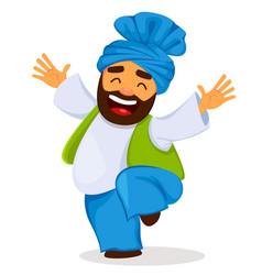 Funny dancing sikh man vector