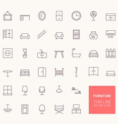 Furniture outline icons for web and mobile apps vector
