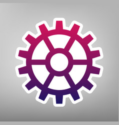 Gear sign purple gradient icon on white vector