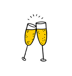 glasses of champagne doodle icon vector image