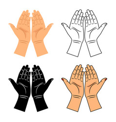 God pray blessed hands icons vector