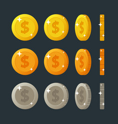 Golden silver and bronze flat cartoon coins vector