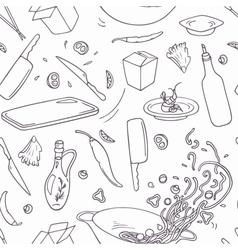 Hand drawn wok restaurant seamless pattern vector image vector image