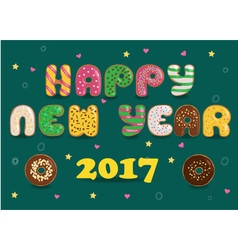 Happy new year 2017 donuts font vector