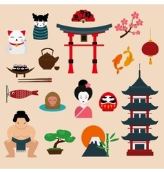 Japan landmark travel icons elements vector image vector image