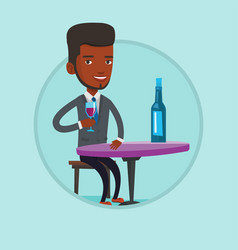 man drinking wine at restaurant vector image vector image