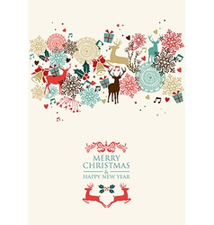 Merry Christmas postal card transparency vector image vector image