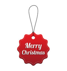 Merry christmas red stitched tag vector