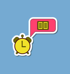 Paper sticker on stylish background book alarm vector