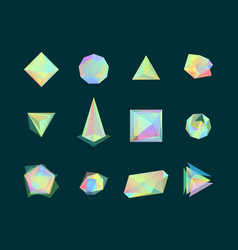 polygonal color glass transparent shapes set vector image