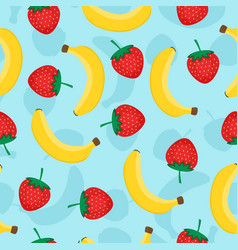 seamless pattern with yellow bananas and red vector image vector image
