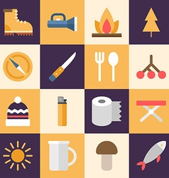 Set of flat style travel icons tourism travel vector