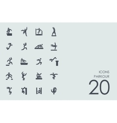 Set of parkour icons vector image