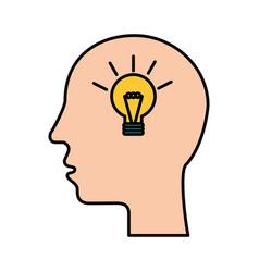 silhouette human head creativity idea solution vector image