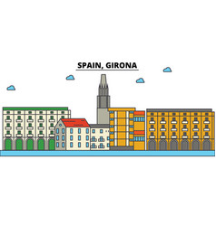 spain girona city skyline architecture vector image