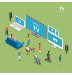 Streaming tv isometric flat vector