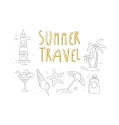 Summer Travel Related Object Collection With Text vector image