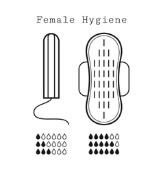 Tampon and strip flat icons of feminine hygiene vector