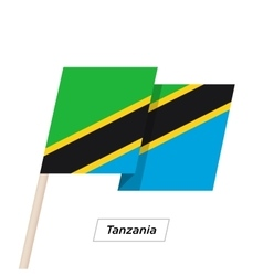 Tanzania ribbon waving flag isolated on white vector