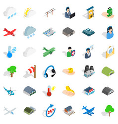 Terminal icons set isometric style vector