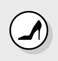Woman shoe sign flat black icon in white vector