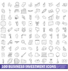 100 business investment icons set outline style vector