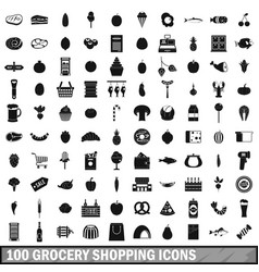 100 grocery shopping icons set simple style vector