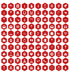 100 religious festival icons hexagon red vector