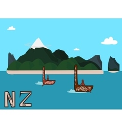 New zealand landscape postcard vector
